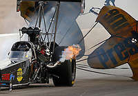 Mar 29, 2014; Las Vegas, NV, USA; NHRA top fuel dragster driver Scott Palmer after losing the bodywork from his car during qualifying for the Summitracing.com Nationals at The Strip at Las Vegas Motor Speedway. Mandatory Credit: Mark J. Rebilas-