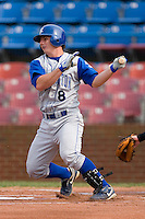 Johnny Giavotella #8 of the Wilmington Blue Rocks follows through on his swing versus the Winston-Salem Dash at Wake Forest Baseball Stadium June 14, 2009 in Winston-Salem, North Carolina. (Photo by Brian Westerholt / Four Seam Images)