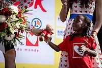 Polka dots jersey podium:<br /> Child looks at  Tim Wellens (BEL/Lotto Soudal) in wonder<br /> <br /> Stage 16: Nimes to Nimes (177km)<br /> 106th Tour de France 2019 (2.UWT)<br /> <br /> ©kramon