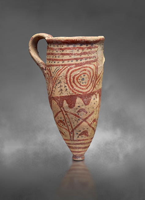 Cycladic conical rhython with spiral decorations.   Cycladic (1650-1450 BC) , Phylakopi III, Melos. National Archaeological Museum Athens.  Cat no 5791.  Gray background.<br /> <br /> <br /> Ceramic shapes and painted style are heavily influenced by Minoan styles during this period. Dark floral and spiral patterns are painted over a lighted backgound with wavy bands.