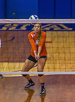 2 November 2014: Purchase College Panther Alex Lally, a Sophomore from Sunnyvale, TX, in action against the Yeshiva University Maccabees at SUNY Purchase College, in Purchase, NY. The Maccabees defeated the Panthers 3-1 in the NCAA Division III Women's Volleyball Skyline matchup. Mandatory Credit: Ed Wolfstein Photo *** RAW (NEF) Image File Available ***