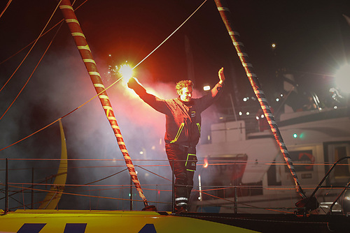First across the line Charlie Dalin also wore Ireland's Dubarry Crosshaven boots Photo: Vendee Globe