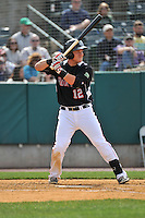 Pat Valaika (12) of the New Britain Rock Cats bats during a game between the New Britain Rock Cats and the New Hampshire Fisher Cats at New Britain Stadium on April 19, 2015 in New Britain, Connecticut.<br /> (Gregory Vasil/Four Seam Images)