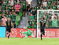AUSTIN, TX - JUNE 19: Brad Stuver #41 of Austin FC saves a shot on the goal during a game between San Jose Earthquakes and Austin FC at Q2 Stadium on June 19, 2021 in Austin, Texas.
