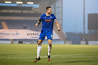 Harry Pell, Colchester United celebrates after firing home the equaliser during Colchester United vs Marine, Emirates FA Cup Football at the JobServe Community Stadium on 7th November 2020