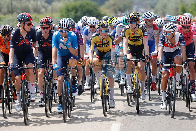 The peloton during Stage 6 of La Vuelta d'Espana 2021, running 158.3km from Requena to Alto de la Montaña Cullera, Spain. 19th August 2021.    <br /> Picture: Luis Angel Gomez/Photogomezsport | Cyclefile<br /> <br /> All photos usage must carry mandatory copyright credit (© Cyclefile | Luis Angel Gomez/Photogomezsport)