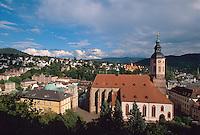 Deutschland, Baden-Württemberg, Blick vom Neuen Schloss in Baden-Baden auf die Stiftskirche