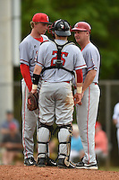 Ball State Cardinals head coach Rich Maloney (right) talks with catcher Jarett Rindfleisch (25) and pitcher Brendan Burns (30) during a game against the Dartmouth Big Green on March 7, 2015 at North Charlotte Regional Park in Port Charlotte, Florida.  Ball State defeated Dartmouth 7-4.  (Mike Janes/Four Seam Images)