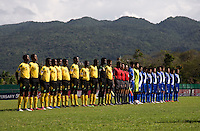 Jamaica and Guatemala line up for the national anthems during the group stage of the CONCACAF Men's Under 17 Championship at Catherine Hall Stadium in Montego Bay, Jamaica. Jamaica defeated Guatemala, 1-0.