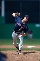 Lowell Spinners relief pitcher Hunter Haworth (36) delivers a pitch during a game against the Batavia Muckdogs on July 15, 2018 at Dwyer Stadium in Batavia, New York.  Lowell defeated Batavia 6-2.  (Mike Janes/Four Seam Images)