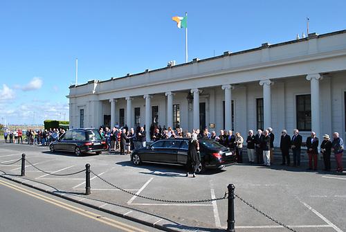 Carmel Winkelmann's funeral cortege passing the Royal Irish Yacht Club yesterday (Friday) morning. Photo: Paddy Boyd