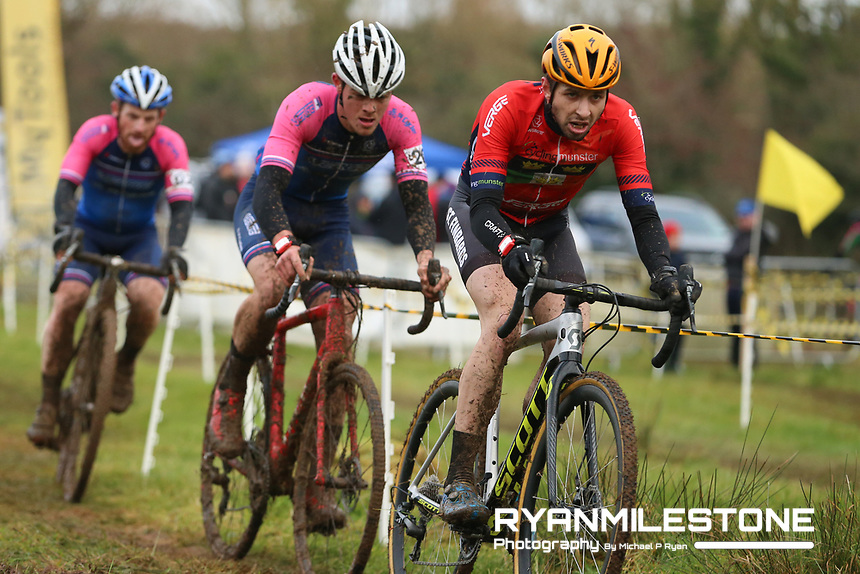 EVENT:<br /> Round 5 of the 2019 Munster CX League<br /> Drombane Cross<br /> Sunday 1st December 2019,<br /> Drombane, Co Tipperary<br /> <br /> CAPTION:<br /> Richard Barry of St Finbarrs CC leads the race from Dillon Corkery of Verge Sport PI Cycles and Paidi O'Brien of Verge Sport PI Cycles during the A Race - Senior<br /> <br /> Photo By: Michael P Ryan