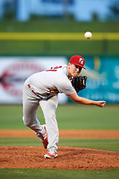 Palm Beach Cardinals relief pitcher Brennan Leitao (21) delivers a pitch during a game against the Clearwater Threshers on April 14, 2017 at Spectrum Field in Clearwater, Florida.  Clearwater defeated Palm Beach 6-2.  (Mike Janes/Four Seam Images)