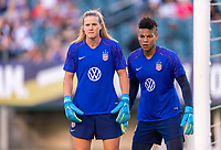 PHILADELPHIA, PA - AUGUST 29: Alyssa Naeher #1 and Adrianna Franch #21 of the United States warm up prior to a game between Portugal and the USWNT at Lincoln Financial Field on August 29, 2019 in Philadelphia, PA.