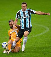 2nd June 2021; Arena do Gremio, Porto Alegre, Brazil; Copa Do Brazil, Gremio versus Brasiliense; Diego Churín of Gremio is tackled from behind by Gustavo Henrique of Brasiliense