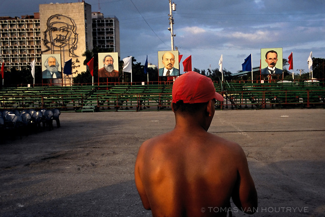Paintings of Karl Marx, Friedrich Engels, Vladimir Lenin and Jose Marti are posted in Plaza de la Revolucion in preparation for an event marking the 50th anniversary of the landing of Granma and a belated celebration for Fidel Castro's 80th birthday in Havana, Cuba on 1 December 2006. Although it was kept secret until the last minute, Castro was too sick to attend the parade in his honor.