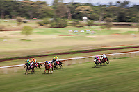 Horses race to the finish at Ngong Racecourse in Nairobi, Kenya. March 17, 2013 Photo: Brendan Bannon