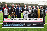Lee Trundle With todays match day sponsors prior the Sky Bet Championship match between Swansea City and Nottingham Forest at the Liberty Stadium, in Swansea, Wales, UK. Saturday 15 September 2018