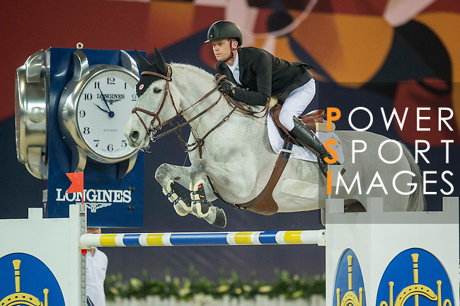 Jerome Guery of Belgium riding Papillon Z  during the Hong Kong Jockey Club Trophy competition, part of the Longines Masters of Hong Kong on 10 February 2017 at the Asia World Expo in Hong Kong, China. Photo by Juan Serrano / Power Sport Images
