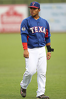 Isaias Quiroz #44 of the AZL Rangers during a game against the AZL Cubs at Surprise Stadium on July 6, 2014 in Surprise, Arizona. AZL Rangers defeated the AZL Cubs, 7-5. (Larry Goren/Four Seam Images)