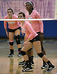 The Marymount Saints wait for the serve during a college volleyball match against Shenandoah at Marymount University in Arlington, Vir., on Tuesday, Oct. 8, 2013.<br /> Photo by Cathleen Allison