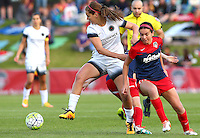 Boyds, MD - Saturday May 07, 2016: Portland Thorns FC midfielder Lindsey Horan (7) moves the ball away from Washington Spirit forward Cali Farquharson (17) during a regular season National Women's Soccer League (NWSL) match at Maureen Hendricks Field, Maryland SoccerPlex. Washington Spirit tied the Portland Thorns 0-0.