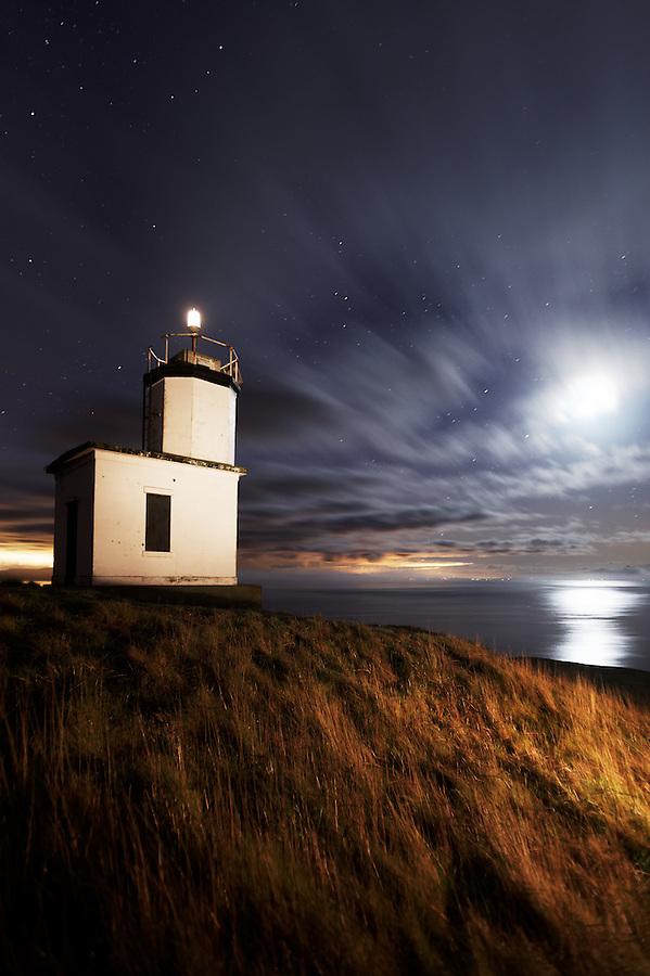 Cattle Point Lighthouse under starry sky, San Juan Island,  San Juan County, Washington, USA