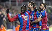 Yohan Cabaye (centre) of Crystal Palace celebrates his goal with Bakary Sako of Crystal Palace & Mile Jedinak (right) of Crystal Palace during the FA Cup quarter-final match between Reading and Crystal Palace at the Madejski Stadium, Reading, England on 11 March 2016. Photo by Andy Rowland/PRiME Media Images.