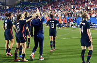 FRISCO, TX - MARCH 11: The USWNT waves to the fans after defeating Japan during a game between Japan and USWNT at Toyota Stadium on March 11, 2020 in Frisco, Texas.
