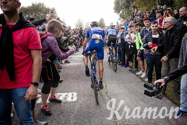 double Lombardia winner Philippe Gilbert (BEL/Deceuninck-Quickstep), racing his very last race in Deceuninck-Quickstep blue, up the infamous (and crowded) Muro di Sormano (avg 17%/max 25%)<br /> <br /> 113th Il Lombardia 2019 (1.UWT)<br /> 1 day race from Bergamo to Como (ITA/243km)<br /> <br /> ©kramon