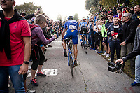 double Lombardia winner Philippe Gilbert (BEL/Deceuninck-Quickstep), racing his very last race in Deceuninck-Quickstep blue, up the infamous (and crowded) Muro di Sormano (avg 17%/max 25%)<br /> <br /> 113th Il Lombardia 2019 (1.UWT)<br /> 1 day race from Bergamo to Como (ITA/243km)<br /> <br /> ©kramon