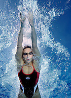 Katharina Stiberg , Norwegian national swimming team training in an outdoor  pool. Frognerbadet, Oslo, Norway..© Fredrik Naumann/Felix Features