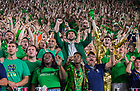 September 1, 2018; ; Students and fans celebrate after Notre Dame defeated Michigan 17 to 24 in the season opening football game. (Photo by Barbara Johnston/University of Notre Dame)