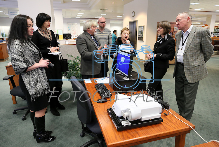 Library representatives from Belarus tour the Nevada State Library, Archives and Public Records in Carson City, Nev. on Friday, Jan. 27, 2017.<br /> Photo by Cathleen Allison/Nevada Photo Source