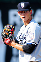 Staten Island Yankees starting pitcher James Kaprielian (56) prior to a game versus the Lowell Spinners at Lelacheur Park on August 22, 2015  in Lowell, Massachusetts .(Ken Babbitt/Four Seam Images)