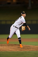 Salt River Rafters starting pitcher Jordan Yamamoto (20), of the Miami Marlins organization, follows through on his delivery during an Arizona Fall League game against the Scottsdale Scorpions at Salt River Fields at Talking Stick on October 11, 2018 in Scottsdale, Arizona. Salt River defeated Scottsdale 7-6. (Zachary Lucy/Four Seam Images)