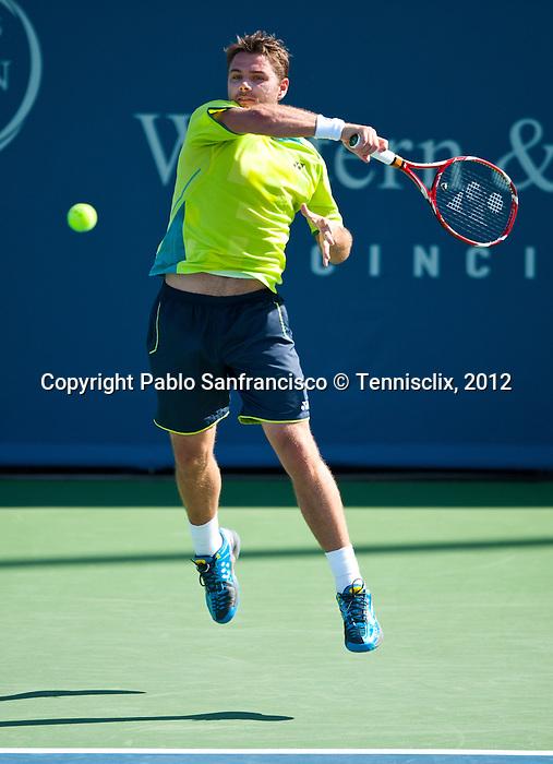 Stanislas Wawrinka of Switzerland at the Western & Southern Open in Mason, OH on August 17, 2012.