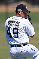 Detroit Tigers pitcher Alex Burgos (49) before a game vs. the Washington Nationals in an Instructional League game at Joker Marchant Stadium in Lakeland, Florida;  October 1, 2010.  Burgos was selected in the fifth round, 163rd overall, of the 2010 MLB Draft out of State Junior College of Florida.  Photo By Mike Janes/Four Seam Images