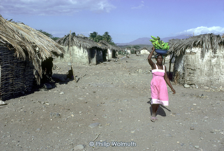 A haitian woman living on a batteye for migrant sugar plantation workers in Tamayo