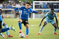 SAN JOSE, CA - AUGUST 17: Cade Cowell #44 of the San Jose Earthquakes dribbles the ball during a game between San Jose Earthquakes and Minnesota United FC at PayPal Park on August 17, 2021 in San Jose, California.