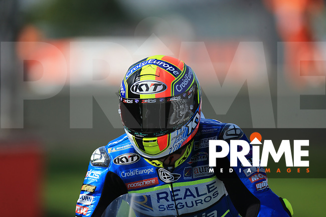 Xavier Simeon (10) of the Alma Pramac Racing (Ducati) race team during the GoPro British MotoGP at Silverstone Circuit, Towcester, England on 26 August 2018. Photo by Chris Brown / PRiME Media Images