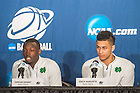 Mar. 19, 2015; Jerian Grant and Zach Auguste answer questions at the press conference following the second round game of the NCAA Tournament. Notre Dame defeated Northeastern 69-65. (Photo by Matt Cashore/University of Notre Dame)