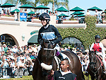 August 8, 2011.Mike Smith riding Joker Face wins the match race against Chantal Sutherland riding Parable in the paddock before her match race against Mike Smith riding Jocker Face at Del Mar Thoroughbred Club, Del Mar CA