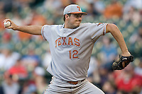 NCAA Baseball featuring the Texas Longhorns against the Missouri Tigers. Workman, Brandon 4299  at the 2010 Astros College Classic in Houston's Minute Maid Park on Sunday, March 7th, 2010. Photo by Andrew Woolley