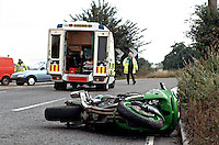 A road traffic accident involving a motorbike and a van. The driver of the van went too fast around the bend and clipped the motorbike coming the other way. Traffic police officers and ambulance paramedic crews are in attendance...© SHOUT. THIS PICTURE MUST ONLY BE USED TO ILLUSTRATE THE EMERGENCY SERVICES IN A POSITIVE MANNER. CONTACT JOHN CALLAN. Exact date unknown.john@shoutpictures.com.www.shoutpictures.com...