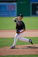 Batavia Muckdogs relief pitcher Tyler Mitzel (40) delivers a pitch during a game against the Auburn Doubledays on September 1, 2018 at Dwyer Stadium in Batavia, New York.  Auburn defeated Batavia 10-5.  (Mike Janes/Four Seam Images)