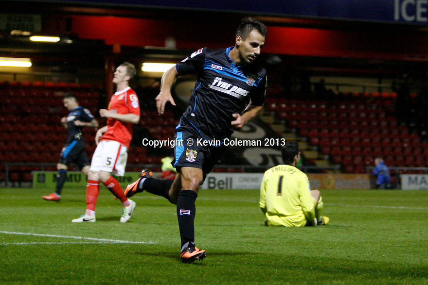 Filipe Morais of Stevenage scores the opening goal and turns away<br />  - Crewe Alexandra v Stevenage - Sky Bet League One - Alexandra Stadium, Gresty Road, Crewe - 22nd October 2013. <br /> © Kevin Coleman 2013