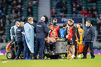 21st May 2021; Twickenham, London, England; European Rugby Challenge Cup Final, Leicester Tigers versus Montpellier; Guy Porter of Leicester Tigers receives injury treatement