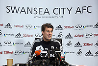 Tuesday 08 January 2013<br /> Pictured: Michael Laudrup, manager for Swansea City FC during a press conference at the Liberty Stadium, ahead of tomorrow's first Capital One Cup game against Chelsea.