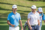 Grégory Bourdy of France (right) and Jorge Campillo of Spain at the first hole during the 58th UBS Hong Kong Golf Open as part of the European Tour on 10 December 2016, at the Hong Kong Golf Club, Fanling, Hong Kong, China. Photo by Marcio Rodrigo Machado / Power Sport Images